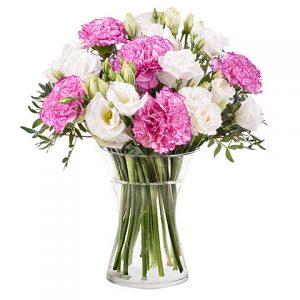 Lisianthus claveles y rosas