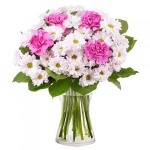 Ramo crisantemos blancos claveles rosas