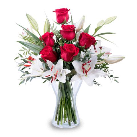Ramo rosas lirios
