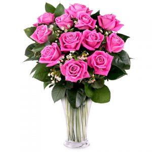 ramo 12 rosas color rosa