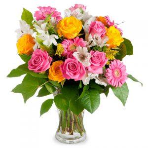 ramo rosas amarillas y rosas