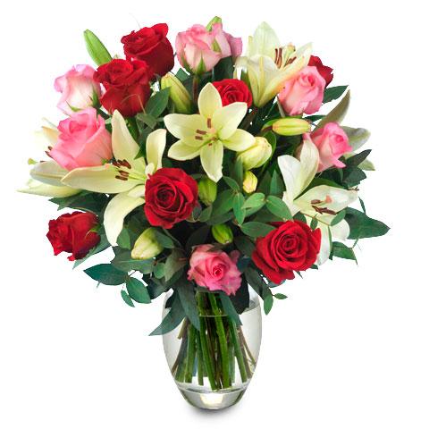ramo de rosas y lirios