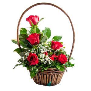 Canasta 6 rosas señorial